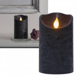 LED-Echtwachs Kerze -TWINKLE- schwarz 12,5x7,5cm mit beweglicher Flamme & Timer-Funktion - Bild vergrößern