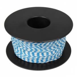 100 Meter flexible Litze / Kabel WEIß-BLAU 0,14mm² Ringdruck zweifarbig - Bild vergrößern