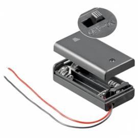 Batteriefach 2x AA geschlossen mit EIN-AUS Schalter / Batteriehalter - Bild vergrößern