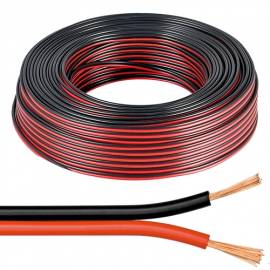 10m flexible Zwillings-Litze 2x0,5mm² ROT-SCHWARZ / Lautsprecher-Kabel - Bild vergrößern