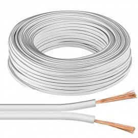 10m flexible Zwillings-Litze 2x0,75mm² weiß-weiß/grau / Lautsprecher-Kabel - Bild vergrößern
