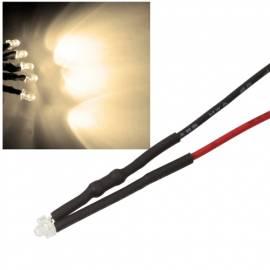 10x 1,8mm Leds WARMWEIß mit 25cm Kabel 12 Volt DC / Led fertig verkabelt 12 V, cable wired - Bild vergrößern