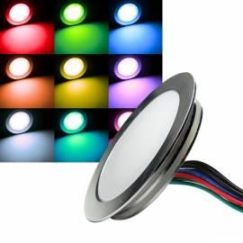 Led Bodeneinbauleuchte -EBL Slim RUND RGB- Ø 55mm Alu matt 12V 0,5W IP67 trittfest - Bild vergrößern