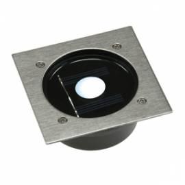 Solar LED Bodeneinbauleuchte -CTB-E- weiß Eckig 100x100mm Edelstahl Front - Bild vergrößern