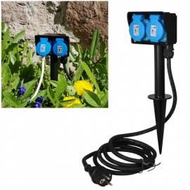 Garten-Steckdose -CT 21455- 2-fach 2m Kabel IP44 Erdspieß Außen-Steckdose Strom-Verteiler Outdoor - Bild vergrößern