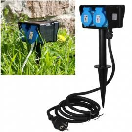 4er Gartensteckdose -CT21456- 4-fach 2m Kabel IP44 Erdspieß Außen-Steckdose Strom-Verteiler Outdoor - Bild vergrößern