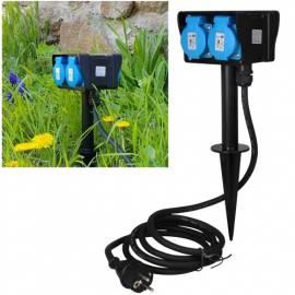 4-fach Garten-Steckdose -CT22035- 10m Kabel IP44 Erdspieß Außen-Steckdose Strom-Verteiler Outdoor - Bild vergrößern