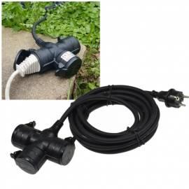 5 Meter 3-fach Verteiler-Verlängerungs-Kabel für Außen-Bereich Garten-Steckdose Outdoor 230V - Bild vergrößern