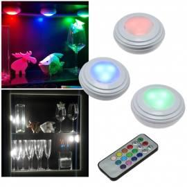 3+1 Set Led Unterbau-Leuchte -Corro RGB-W- mit Fernbedienung Timer kabellos Möbelleuchte touch - Bild vergrößern