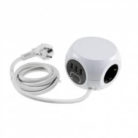 3-fach Verteiler-Steckdosen-Würfel mit 3 USB Lade-Buchse max 2,4A Steckerleiste Mehrfach-Steckdose - Bild vergrößern