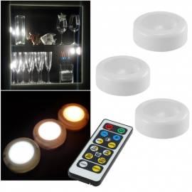 3+1 Set Led Unterbau-Leuchte CORRO-White mit Fernbedienung Timer kabellos Aufbau-Möbelleuchte touch - Bild vergrößern