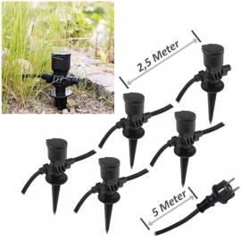 Gartensteckdose mit 5 Einzelsteckdosen 5m+2,5+2,5+2,5+2,5m Kabel IP44 Außen Strom-Verteiler - Bild vergrößern