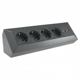 4-fach Steckdosenblock + 2x USB MILOS anthrazi -23308- Aufbau-Montage Steckdose mit USB Lade-Buchse - Bild vergrößern