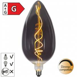 LED Deko XXL Kerzen-Leuchtmittel E27 -INDUSTRIAL- 33x15cm rauchglas 6W Glühbirne Kerze 2200K - Bild vergrößern