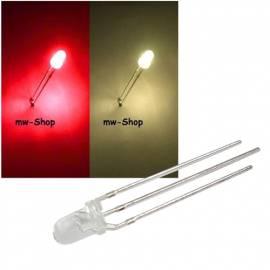 3mm DUO Led rot-warmweiß 3 Pin Bi Color Leds L032SRWWC - Bild vergrößern