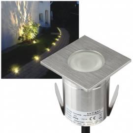 hochwertiger Led Bodeneinbaustrahler -MINIFLOOR S 100- eckig warmweiß 63x63mm Edelstahl 230V 2W IP65 - Bild vergrößern
