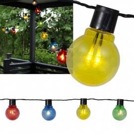 Led Party Lichterkette -LIGHTCHAIN- bunt-klar Kabel schwarz mit 16 -Glühbirnen- 9,5m 230V - Bild vergrößern