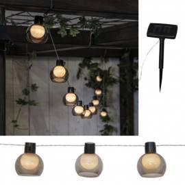 LED Solar Lichterkette -SMOKY- mit 10 Kugeln 4,7m für Außen Garten Party - Bild vergrößern