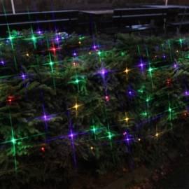 3x3m multicolor LED Lichternetz bunt 180 Leds, schwarzes Kabel, outdoor Außen IP44 - Bild vergrößern