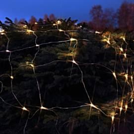 3x3m LED Lichternetz WARMWEIß 180 Leds, transparentes Kabel, outdoor Außen IP44 - Bild vergrößern
