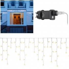 in & outdoor LED Lichtervorhang warmweiß HxB 0,6x10 Meter 400 LEDs 57940 mit Timer 230V Netzteil - Bild vergrößern
