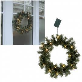 LED Tannenkranz 40cm mit Timer Batterie-Betrieb Led beleuchtet warmweiß für Innen und Außen - Bild vergrößern
