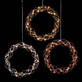 LED Licht Kranz Ø 30/45/50cm -Curly Dewdrops- warmweiß beleuchtet / Design Lichterkranz - Bild vergrößern