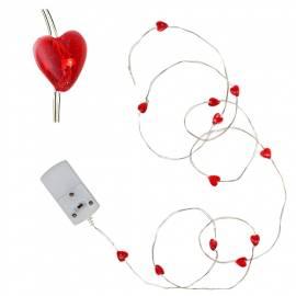 MICRO Led Lichterkette STRING Herz 12 SMDs batteriebetrieben / Draht Batterie-Betrieb - Bild vergrößern