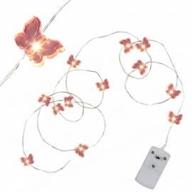 MICRO Led Draht-Lichterkette STRING Schmetterling 12 SMDs batteriebetrieben / Batterie-Betrieb - Bild vergrößern
