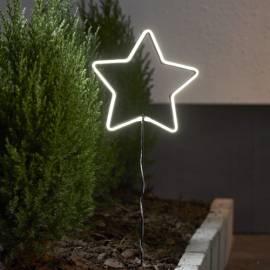LED Deko-Stern -NEONSTAR- mit Batteriefach & TIMER Gartenstecker für Außen - Bild vergrößern