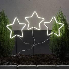 3er Set LED Deko-Sterne -NEONSTAR- mit Netzteil 8 Effekte Gartenstecker für Außen - Bild vergrößern