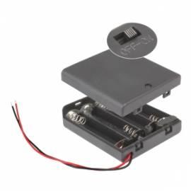 Batteriefach 4x AA geschlossen mit EIN-AUS Schalter / Batteriehalter - Bild vergrößern