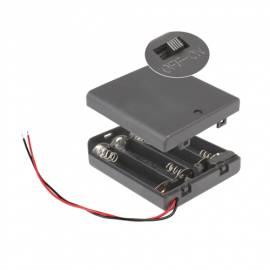 Batteriefach 4x AAA mit EIN-AUS Schalter, Batteriehalter - Bild vergrößern