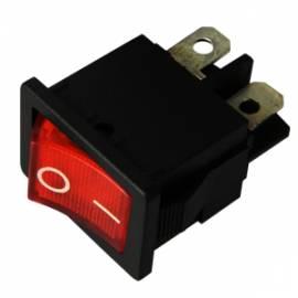 Wippschalter ROT beleuchtet 2x EIN/AUS 250/125V AC 3/6A 21x15mm - Bild vergrößern