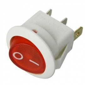 weißer WIPPSCHALTER rund EIN/AUS ROT beleuchtet 250V AC 6A - Bild vergrößern