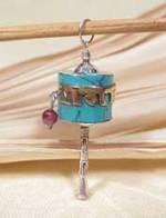 Anhänger Gebetsmühle - Tibet Mantra - Sterling Silber - Türkis - NEPAL