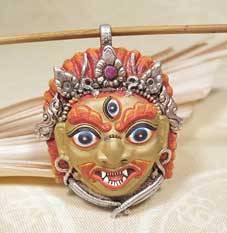 Einmalig - Anhänger Mahakala - handbemalt - 925er Silber - Nepal