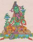 Faltkarte mit Umschlag - Grüne Tara - Handgeschöpftes Lokta Papier - Nepal