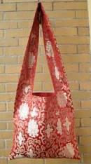Tibetische Schulter-Tasche aus Lotus Brokat - Umhängetasche - rot