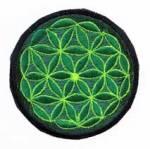 Gestickter Aufnäher - Patch - Blume des Lebens - grün - Nepal