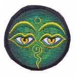 Gestickter Aufnäher - Patch - allsehende Augen Buddhas - grün - Nepal
