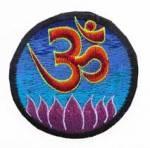 Gestickter Aufnäher - Patch - OM AUM Symbol & Lotus - Nepal