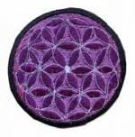 Gestickter Aufnäher - Patch - Blume des Lebens - violett - Nepal