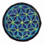 Gestickter Aufnäher - Patch - Blume des Lebens - blau türkis - Nepal