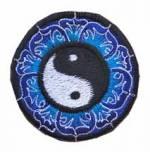 Gestickter Aufnäher - Patch - Yin Yang Symbol im Lotuskranz - Nepal