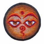 Gestickter Aufnäher - Patch - allsehende Augen Buddhas - braun - Nepal