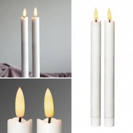 2er Set LED Stabkerze 3D FLAMME 24,5 x 2,1cm flackernde Tafelkerze weiß