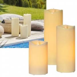 XXL Outdoor LED Kerze GRANDE Ø12cm flackernd mit TIMER für Balkon & Garten