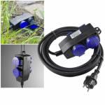 5/10 Meter 4-fach Verteiler-Verlängerungs-Kabel für Außen-Bereich Garten-Steckdose Outdoor 230V