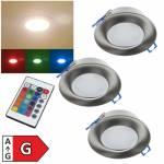 3er Set RGB-Warmweiß Led Deckeneinbauleuchte mit Fernbedienung IP44 300lm 230V 5W RGB-WW Innen Außen